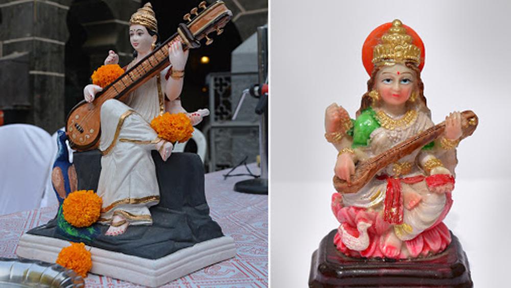 Saraswati Puja: হলুদ শাড়িতে ম্যাচিং মাস্ক, পাঞ্জাবির পকেটে স্যানিটাইজারের উঁকি; আজ সরস্বতী পুজো