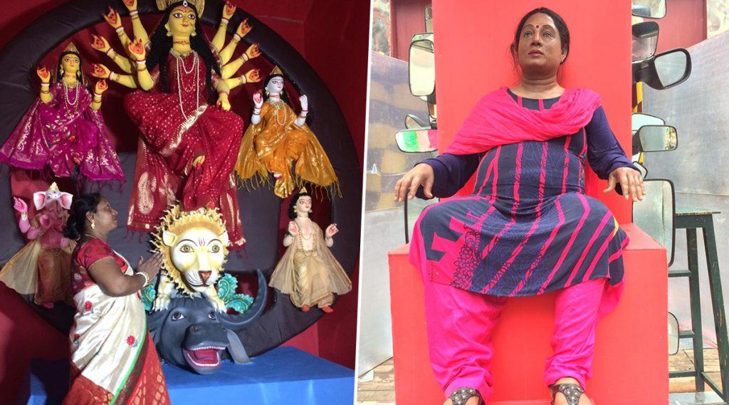 Durga Puja 2019: জ্যান্ত দুর্গার হাতে চক্ষুদান প্রতিমা দুর্গার; নর্থ ত্রিধারার থিম স্টিয়ারিং হাতে দুর্গা