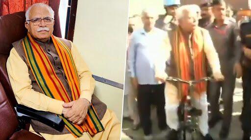 Haryana Assembly Elections 2019: সাইকেল চড়ে ভোট দিতে এলেন হরিয়ানার মুখ্যমন্ত্রী মনোহর লাল খাট্টার