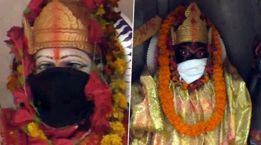 Viral: চরমে বায়ু দূষণ, বারাণসীর মন্দিরে মুখে কাপড় বেঁধে দুর্গা, কালী!