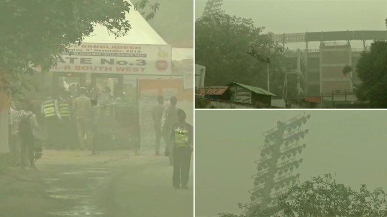 Pollution Visuals of Arun Jaitley Stadium: দূষণে ঢেকেছে রাজধানী দিল্লি, ভারত- বাংলাদেশ ম্যাচ বন্ধ থাকুক আর্জি নেটিজেনদের
