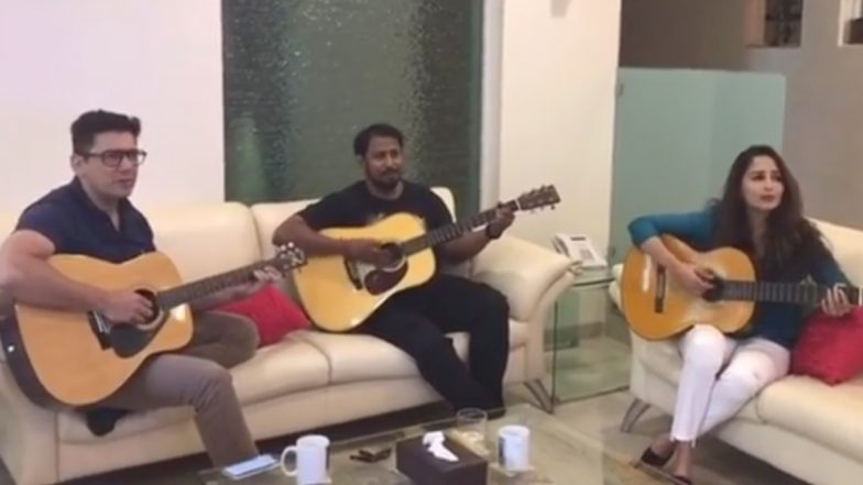 Madhuri Dixit Singing: রবিবাসরীয় দুপুরে গিটার বাজিয়ে গান গাইলেন মাধুরী দীক্ষিত, গলা মেলালেন স্বামী