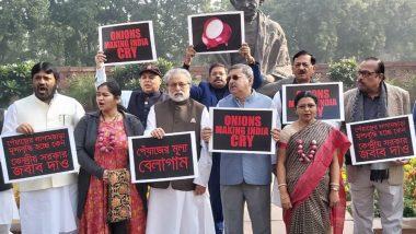 Protest in Parliament Over Rising Onion Prices: সংসদের বাইরে পেঁয়াজের মূল্য বৃদ্ধিতে বিক্ষোভ তৃণমূল কংগ্রেসের