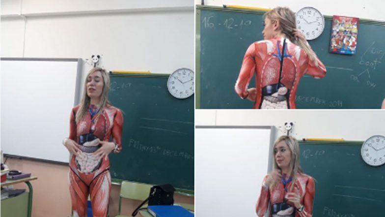 Spanish School Teacher Went Viral: পড়ুয়াদের পড়াকে সহজ করতে বায়োলজির ক্লাসে অ্যানাটমির পোশাক পরে এলেন শিক্ষিকা, দেখুন ছবি