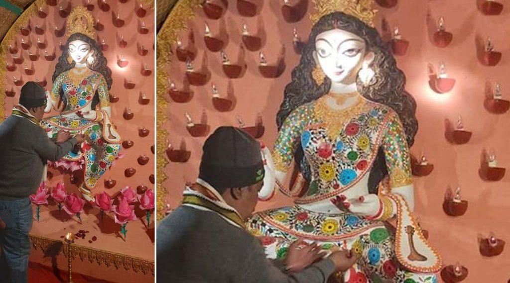 Saraswati Puja 2020: গলায় ভোটার ভোটার আইডি কার্ড ঝুলিয়ে হাজির বাগদেবী, সরস্বতী পুজোর থিম NRC, CAA, NPR