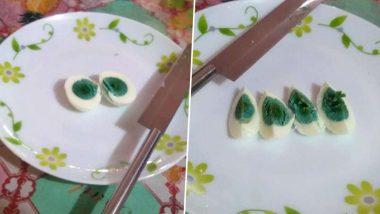 Eggs with Green Yolks: ডিম নাকি এলিয়েন? সবুজ কুসুমের ডিম দেখে অবাক নেটিজেন