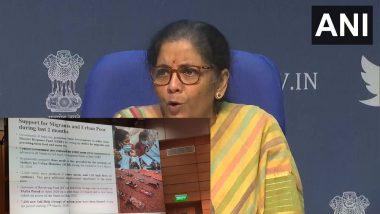 Nirmala Sitharaman:  ৩৫০০ কোটি টাকায় ৮ কোটি পরিযায়ী শ্রমিককে ২ মাস বিনামূল্যে খাবার, আগামী মার্চেই ওয়ান নেশন ওয়ান রেশন কার্ড; বললেন নির্মলা সীতারমণ
