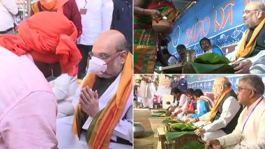 Amit Shah at Bankura: বাঁকুড়ায় আদিবাসী বাড়িতে চাঁটাইয়ে বসে মধ্যাহ্নভোজ সারলেন স্বরাষ্ট্রমন্ত্রী অমিত শাহ