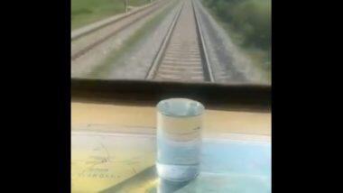 'Water Glass' Test on Railways Tracks: তীব্র গতিতে ছুটছে ট্রেন, অথচ দুলুনিতে কাচের গ্লাসে রাখা জল একটুও পড়ছে না!
