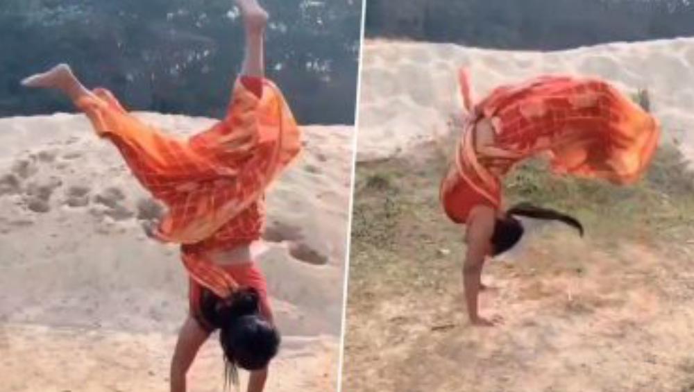 Stunt In A Sari: শাড়ি পরে একের পর এক ডিগবাজি, বঙ্গললনার স্ট্যান্টে মাতোয়ারা নেটদুনিয়া
