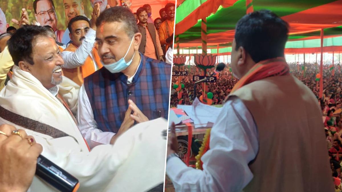 BJP Rally in Nandigram: 'ক্ষমতায় ফিরলে টাটাকে ফেরাবো', শুভেন্দু-দিলীপের নন্দীগ্রাম সভা থেকে বার্তা মুকুল রায়ের