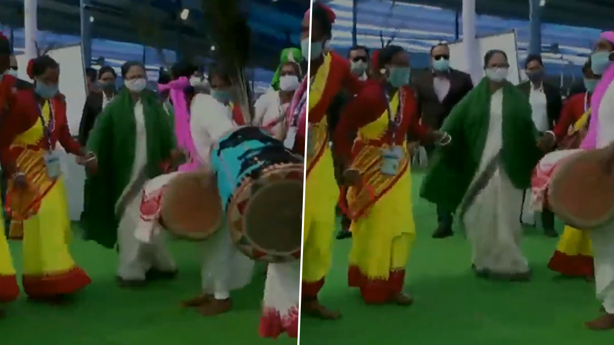 CM Mamata Banerjee: ধামসা মাদলের সঙ্গে আদিবাসীদের সঙ্গে কোমর দোলালেন মমতা ব্যানার্জি