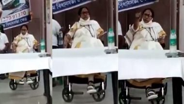 West Bengal Assembly Election 2021 :  'ভাঙা' পায়ের উপর অন্য পা রাখছেন মমতা? ভাইরাল ভিডিয়ো