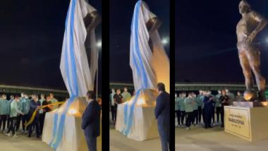 Tribute to Late Diego Maradona: কিংবদন্তী মারাদোনাকে শ্রদ্ধা, মূর্তি উন্মোচনে আর্জেন্টিনার ফুটবলাররা (দেখুন ভিডিও)