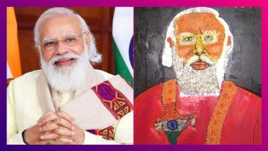 Narendra Modi এর জন্মদিনে প্রধানমন্ত্রীর ৮ ফিটের পটচিত্র