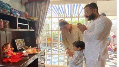 Kareena Kapoor Khan: করিনার গণেশ পুজো, ছোট্ট গণপতি বানিয়ে সইফের সঙ্গে প্রণাম তৈমুরের