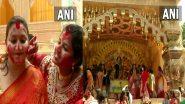 Durga Puja 2021: দশমীতে মুদিয়ালিতে চলছে সিদূঁর খেলা, দেখুন